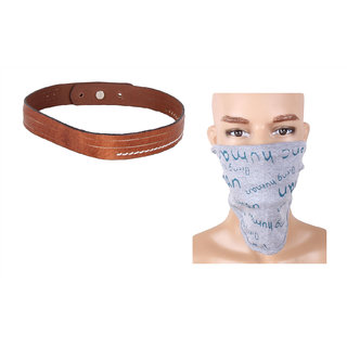 Jstarmart Brown Belt Wrist Band Combo Face Mask JSMFHWB0318