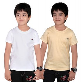 DONGLI SOLID BOY'S ROUND NECK T-SHIRT (PACK OF 2)DL450_WHITE_BEIGE