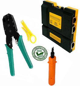 RJ45 RJ11 CAT5 Network Tool Kit Cable Tester Crimp LAN +Punch