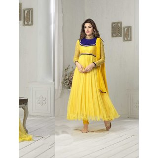 Thankar Yellow And Blue Embroidered Net And Net Brasso Anarkali Suit