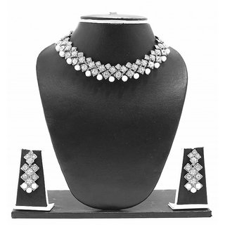 Zaveri Pearls Stylish Cubic Austrian Diamond Necklace Set-ZPFK2003