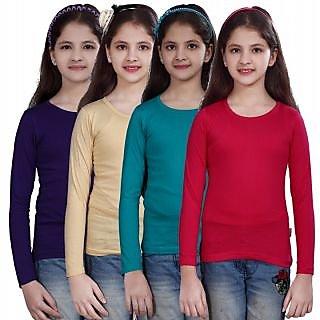 SINIMINI GIRLS FULL SLEEVE TOP ( PACK OF 4 )SMF500_PURPLE_BEIGE_TBLUE_RPINK