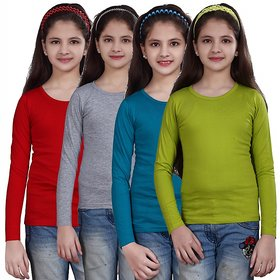 SINIMINI GIRLS FULL SLEEVE TOP ( PACK OF 4 )SMF500_RED_WMELANGE_PETROL_MEGANTHI