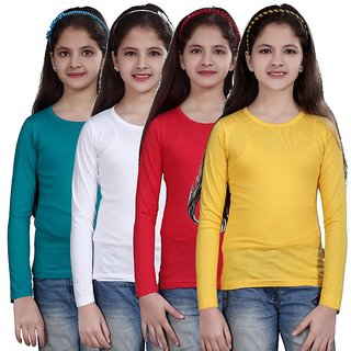 SINIMINI GIRLS FULL SLEEVE TOP ( PACK OF 4 )SMF500_TBLUE_WHITE_TPINK_LYELLOW