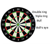 "12"" INCH MAGNETIC DART BOARD TWO SIDED WITH 4 DARTS"