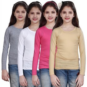 SINIMINI GIRLS FULL SLEEVE TOP ( PACK OF 4 )SMF500_WMELANGE_WHITE_MPINK_BEIGE