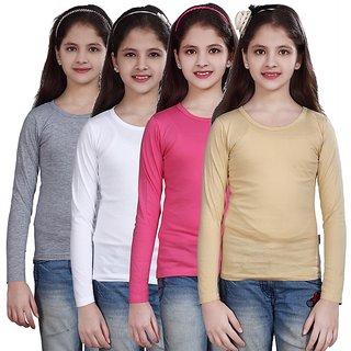 SINIMINI GIRLS FULL SLEEVE TOP ( PACK OF 4 )SMF500_WMELANGE_WHITE_MPINK_BEIGE