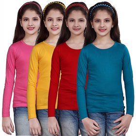 SINIMINI GIRLS FULL SLEEVE TOP ( PACK OF 4 )SMF500MPINKGYELLOWREDPETROL