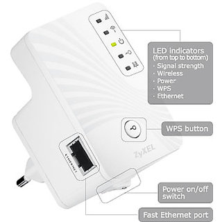 ZyXEL WRE-2205 v2-300 MBPS Wall Plugged Wireless LAN Extender+ 3yrs manufacturer warranty