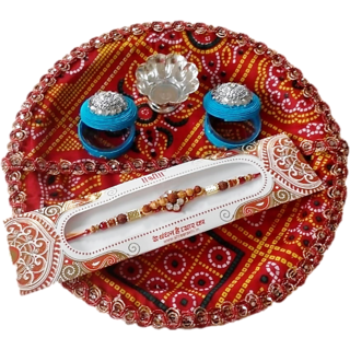 Puja thali with Rakhi - Blue - Unique Arts