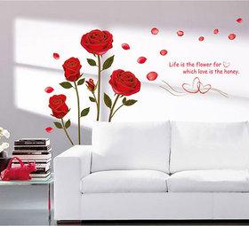 Walltola Pvc Bedroom Romantic Rose Flowers Wall Sticker (28X35 Inch)