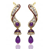 Kriaa Exclusive Design Purple Earrings  -  1304502