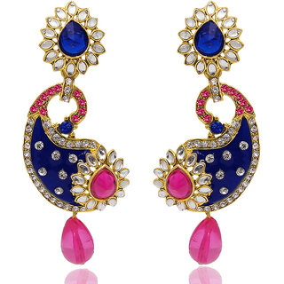 Kriaa Gold Plated Multi Dangle Earrings For Women