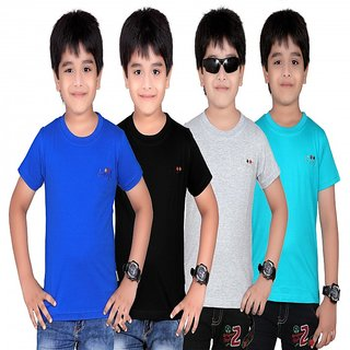 DONGLI SOLID BOY'S ROUND NECK T-SHIRT (PACK OF 4)DL450_RBLUE_BLACK_WM_TBLUE