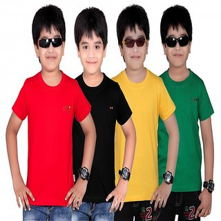 DONGLI SOLID BOY'S ROUND NECK T-SHIRT (PACK OF 4)DL450_RED_BLACK_GYELLOW_GREEN
