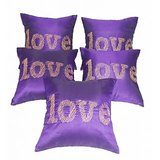 Love Embroidery Cushion Cover Purple  5 Pcs Set