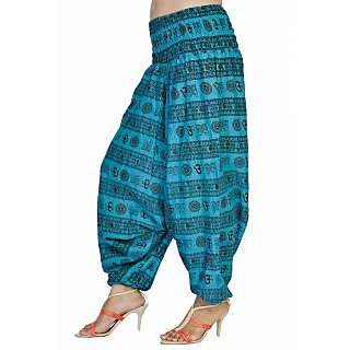 Women Sky Blue Color Om Printed Cotton Harem Pants Afghani