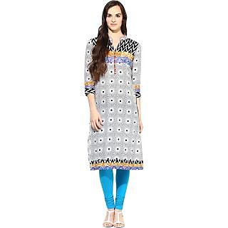 Fpc creations Grey & Blue Printed cotton Kurti