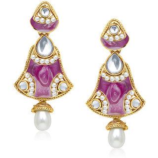 Kriaa Exclusive Meenakari Purple Pearl Drop Earrings  -  1304523