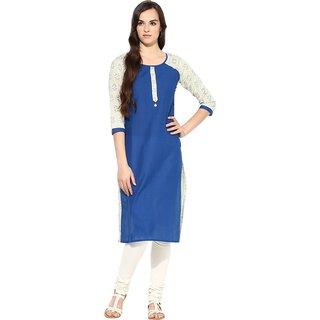 Fpc creations Blue Printed Long Cotton Kurti