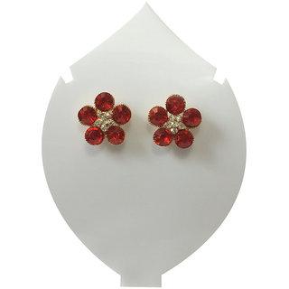 Verceys Maroon Red Stud Earring Set