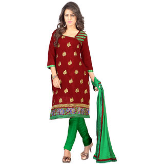 Lookslady Maroon And Green Polycotton Embroidered Salwar Suit Dress Material (Unstitched)