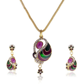 Multicolor Purple Diamond Sudded Pendant Set PS-1247
