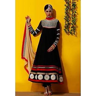 Riti Riwaz black  georgette semi stitched anarkali Salwar suit ANG1054