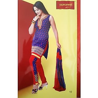 Dhanwanti Unstitched Designer Suit 010RBR Royal Blue & Red