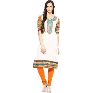 Fpc creations Orange& white Printed Kurti