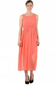 Raabta Fashion Peach Plain Maxi Dress For Women