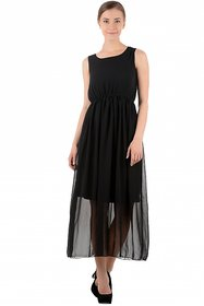Raabta Fashion Black Plain Maxi Dress For Women