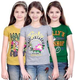 SINIMINI GIRLS PRINTED HALF SLEEVE TSHIRT ( PACK OF 3 )-SMH600_LY_WM_GREEN