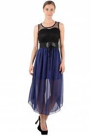 Raabta Fashion Black And Blue Plain Asymmetric dress For Women