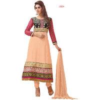Florence Beautiful Embrodried Cream Anarkali Dress Material(SB-1353)