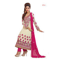 Florence Embrodried White and Pink Anarkali Dress Material(SB-1360)