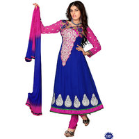 Florence Awesome Embrodried Blue And Pink Anarkali Dress Material(SB-1281)