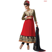 Florence Beautiful Embrodried Red Anarkali Dress Material(SB-1361)