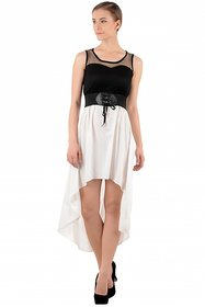 Raabta Fashion Black And White Plain Asymmetric dress For Women