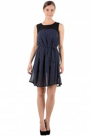 Shimmer Navy With White Polka Dotted Short Party Wear Dress