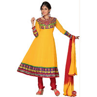 Florence Embrodried Yellow Anarkali Dress Material(SB-1285)