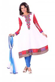 Florence Beautiful Embrodried White And Red Anarkali Dress Material(SB-1282)