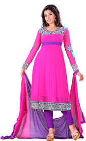 Florence Elegant Embrodried Pink Anarkali Dress Material(SB-1284)