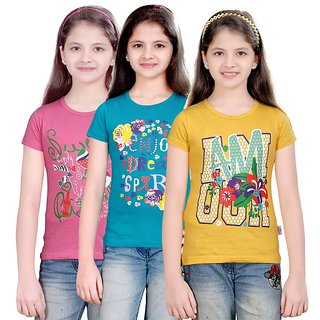SINIMINI GIRLS PRINTED HALF SLEEVE TSHIRT ( PACK OF 3 )SMH600_MPINK_PETROL_GY
