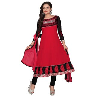 Florence Pretty Embrodried Fussia Pink And Black Anarkali Dress MaterialSB-1287