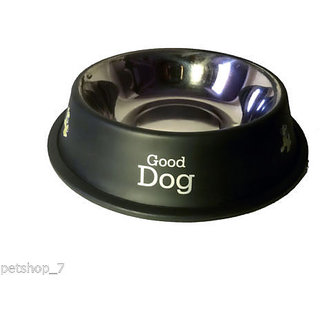 stainless steel stylish dog food bowl - BLACK 600 ML
