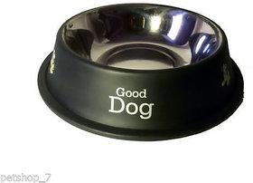 stainless steel stylish dog food bowl - BLACK 1800 ML