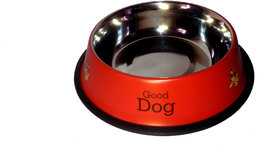 MKS stainless steel stylish dog food bowl - RED 920 ML