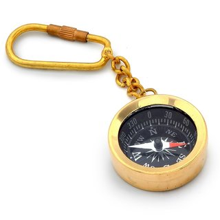 Antique Brass Handcrafted Compass in Keychain -161