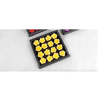 Handmade Flower Shaped Floating 16 Candles Set-Yellow Rose